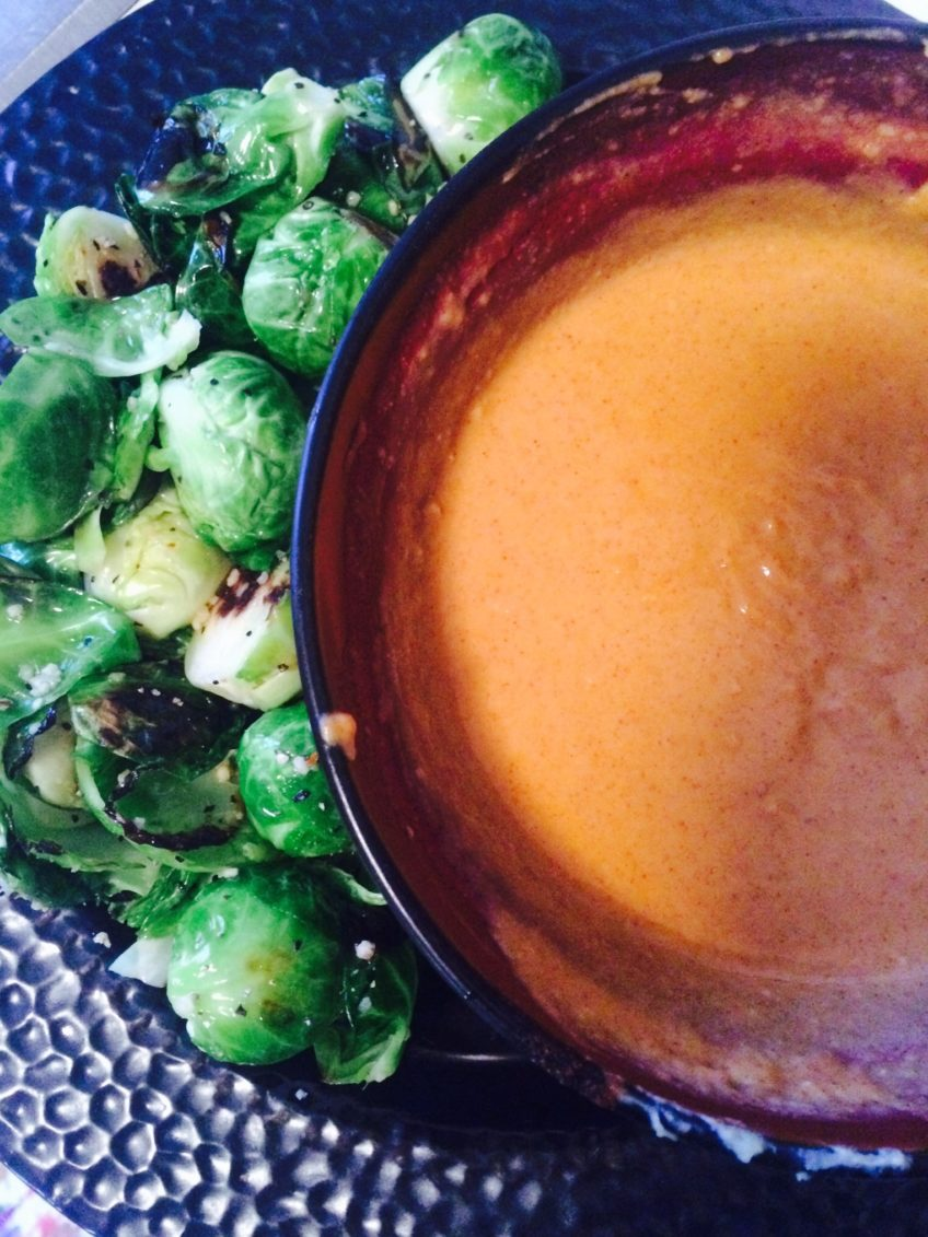 Sautéed Brussels Sprouts w/ Sriracha Aioli
