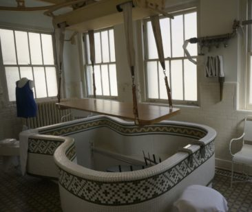 Assisted bathing tub for paralyzed bathers in Hot Springs NP.