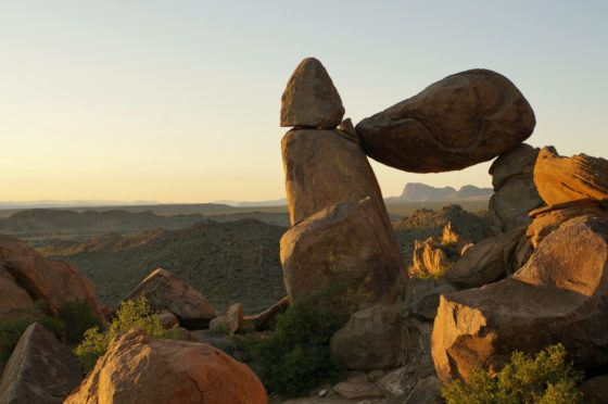 Balanced Rock with the Chisos framed inside.
