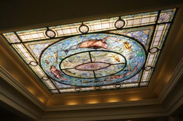 Stained glass window above main bathing hall in Hot Springs NP.