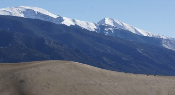 The dunes and the Sangre de Cristos. Who can spot the tiny hikers!