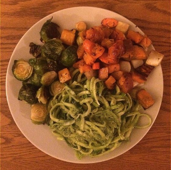 Homemade pesto zoodles with garlic roasted Brussels sprouts and butternut squash.