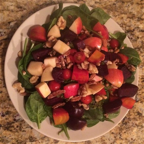Roasted beet & spinach salad with walnuts and apples. Boom.