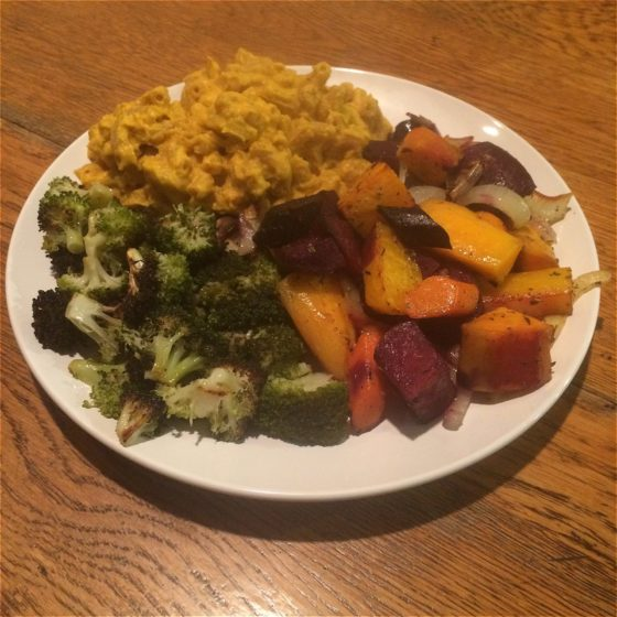 Vegan macaroni & cheese with blackened broccoli and roasted root vegetables. Comfort food at its healthiest!